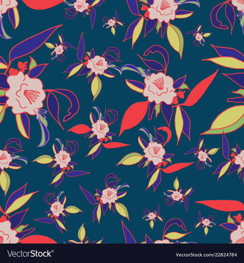 Colorful Floral Print Seamless Pattern Royalty Free Vector