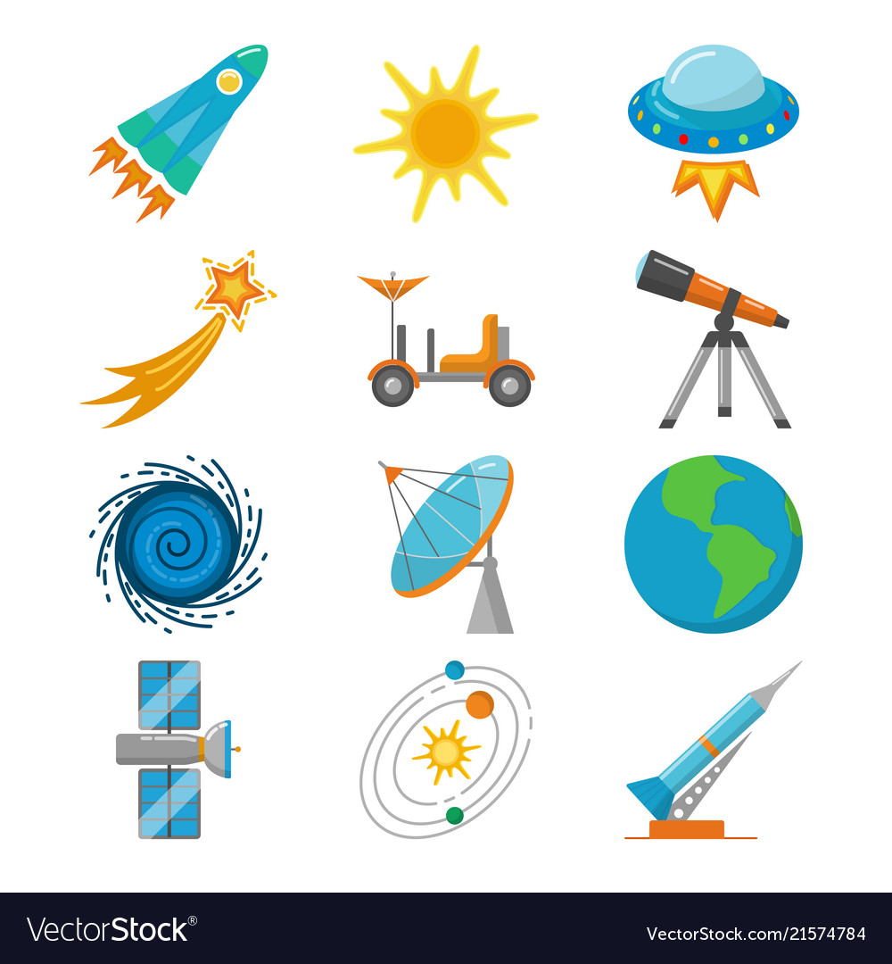 Colorful space icons set in flat style