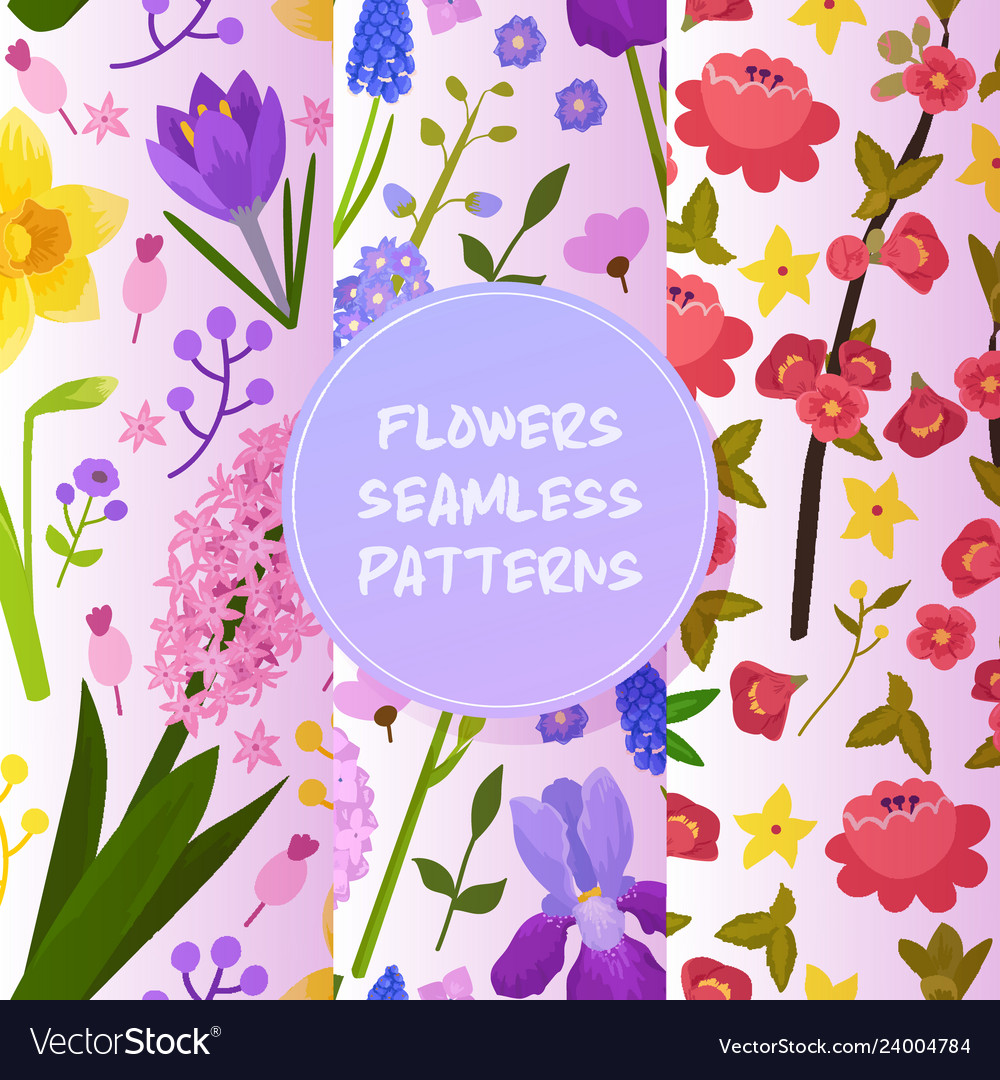 Flowers and floral seamless pattern