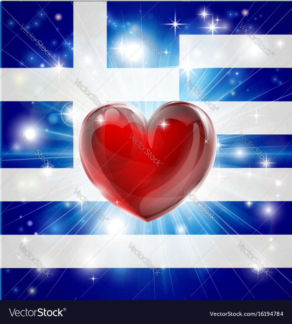 Love greece flag heart background