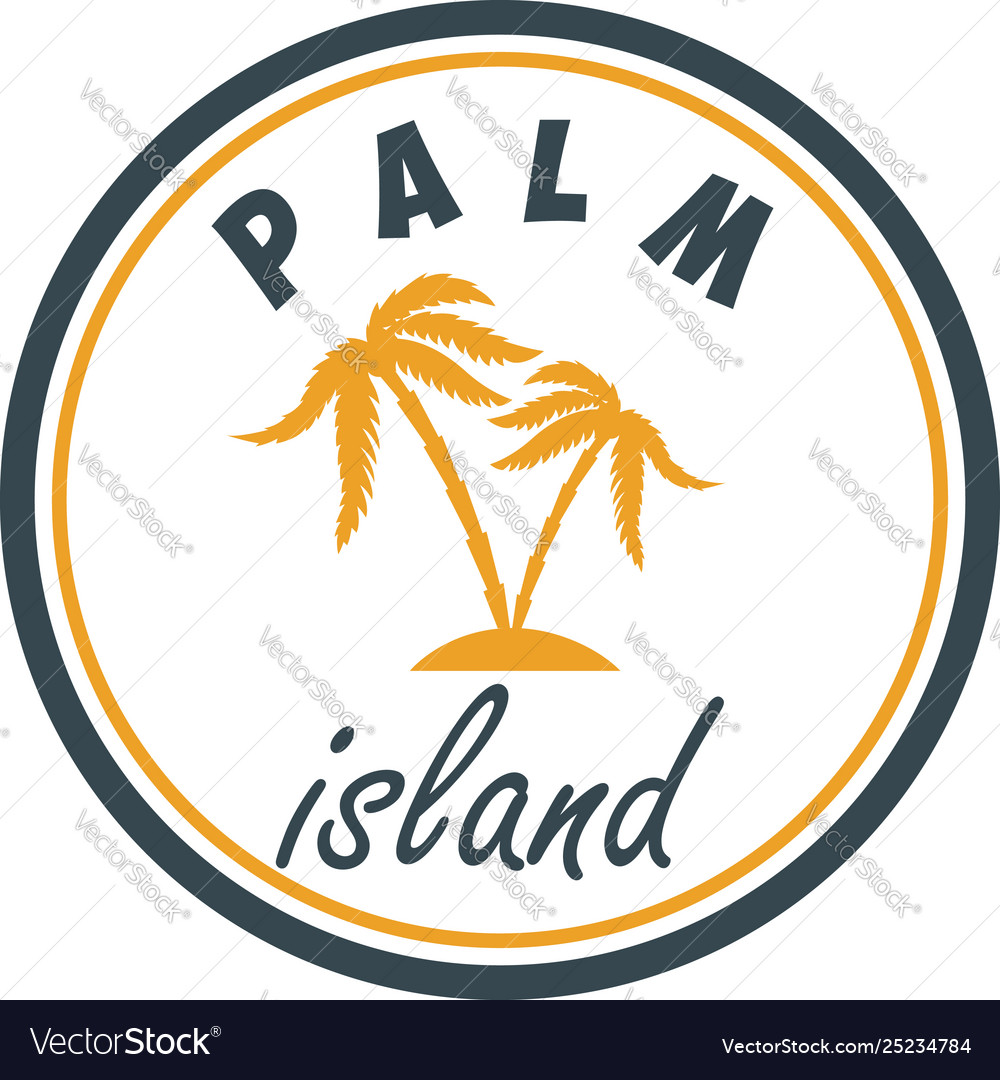 Palm island summer emblem with palms design