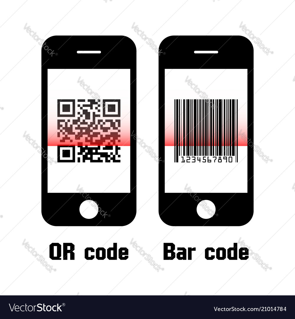Smartphone scan qr code and bar code flat design