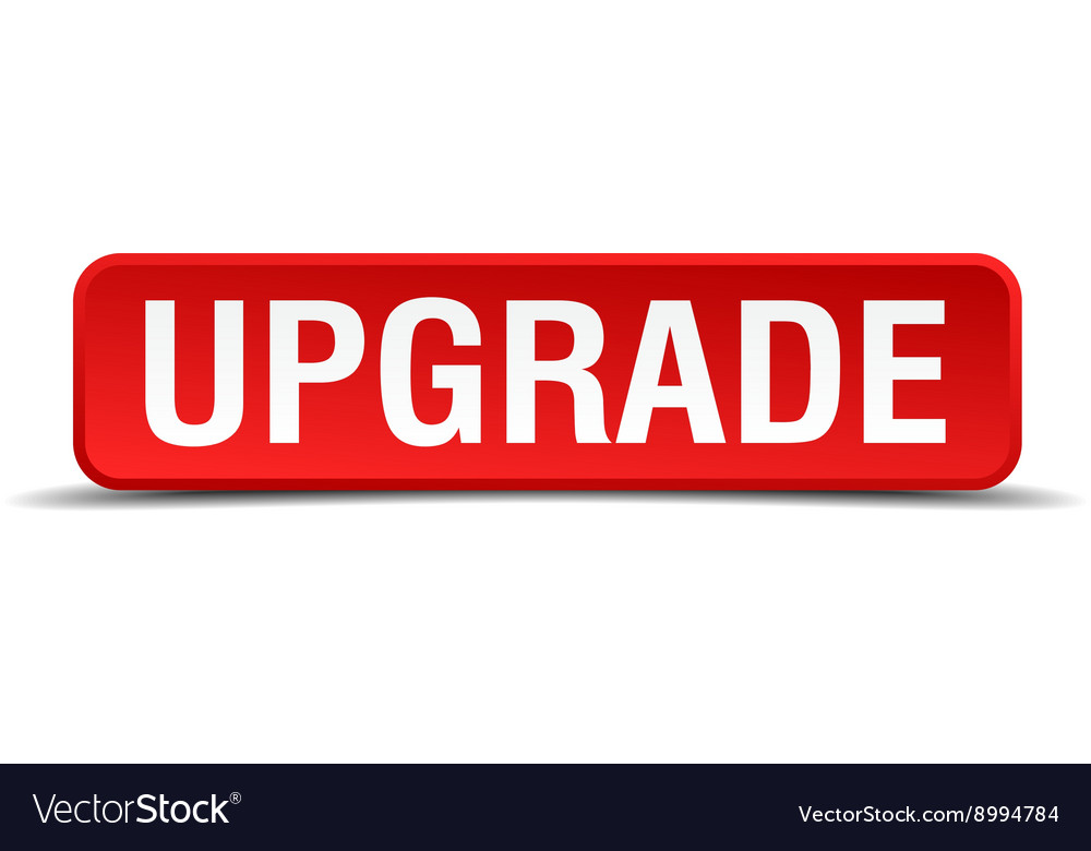 Upgrade Red 3d Square Button Isolated On White Vector Image