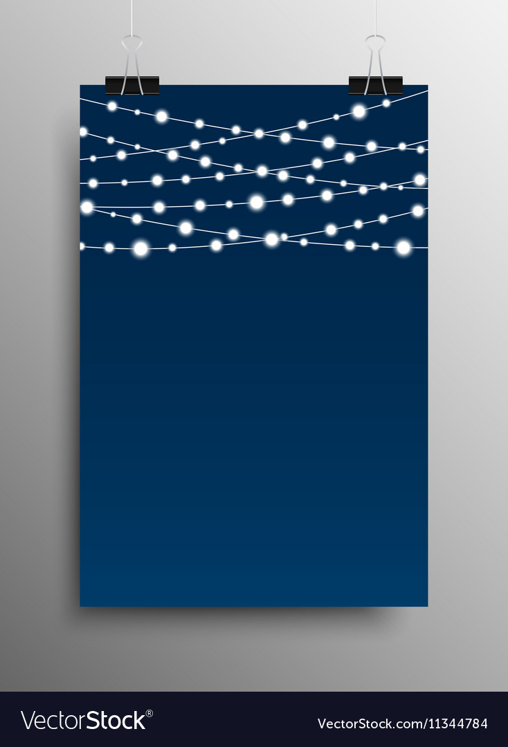 Vertical Poster Garland Bright Bulbs vector image