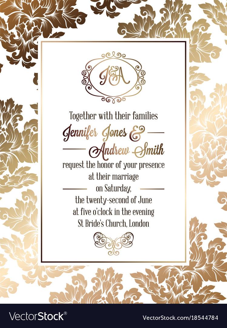 Vintage baroque style wedding invitation card vector image stopboris Choice Image