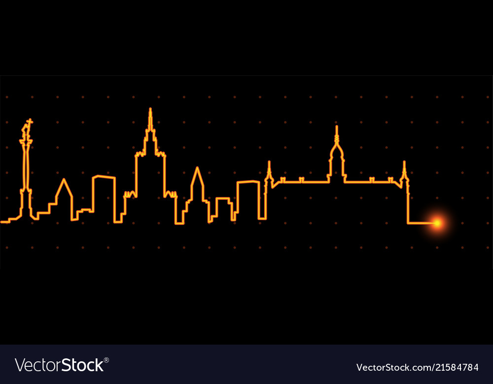 Warsaw light streak skyline