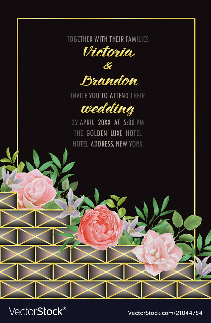 Wedding invitation with geometric elements