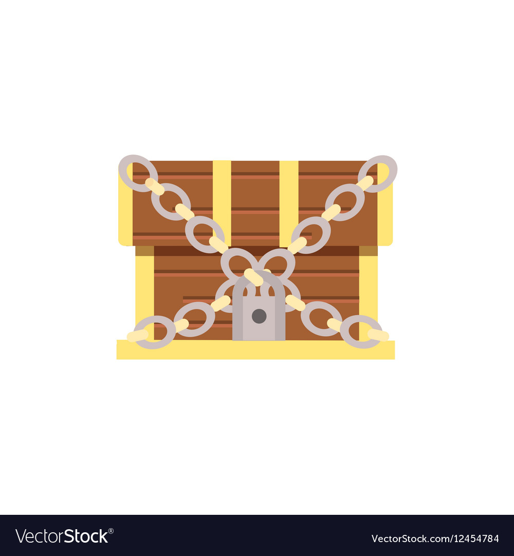 Wooden chest cartoon with lock