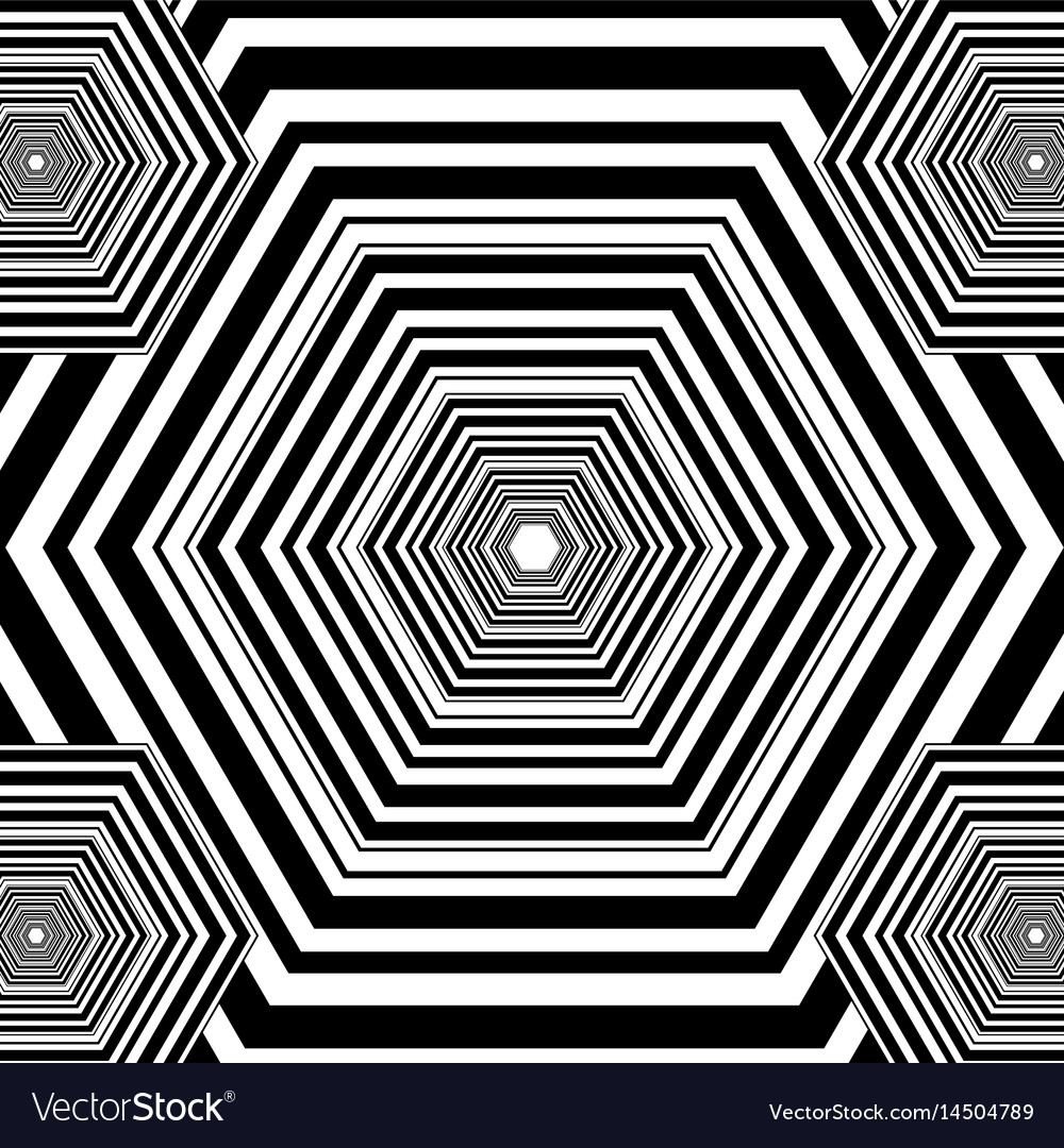 Black And White Hexagon Geometric Pattern Vector Image