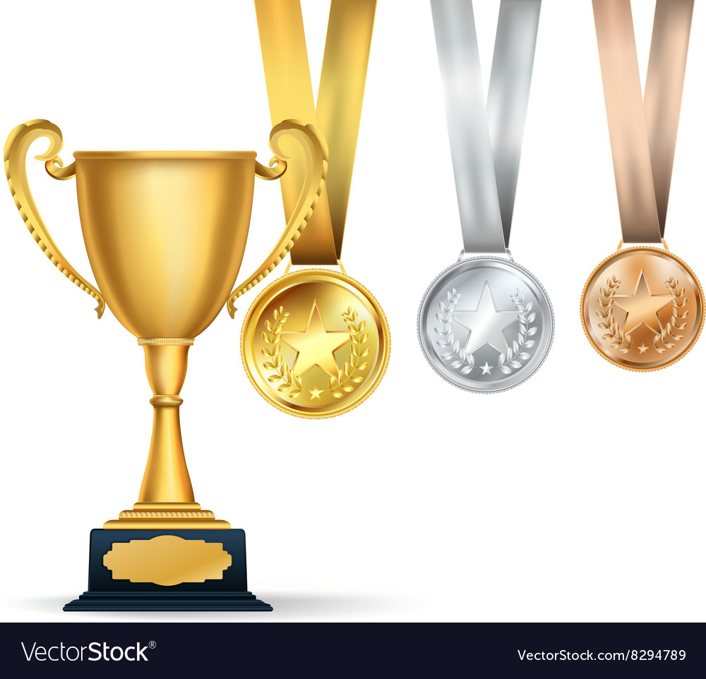 Golden trophy cup and set of medals