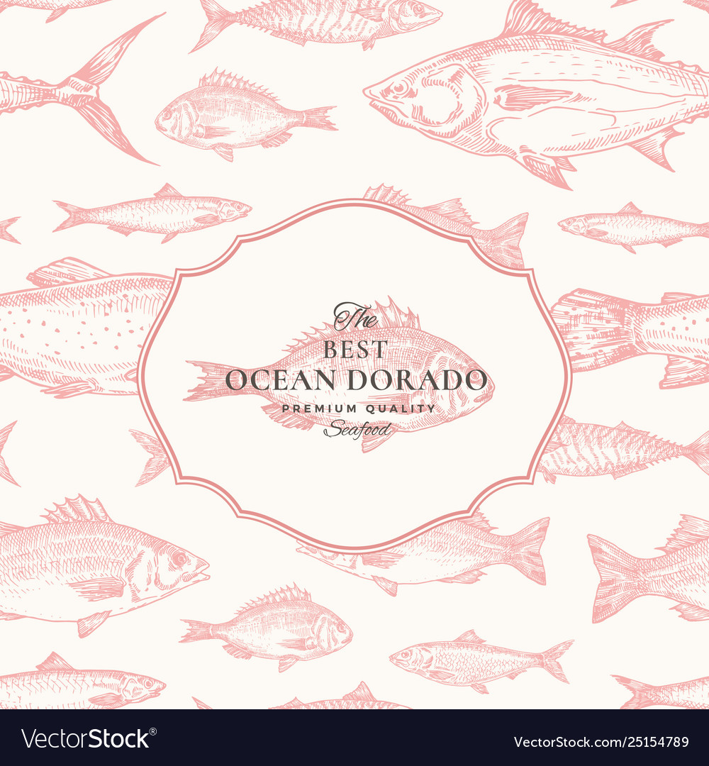 Hand drawn seamless pattern fish package