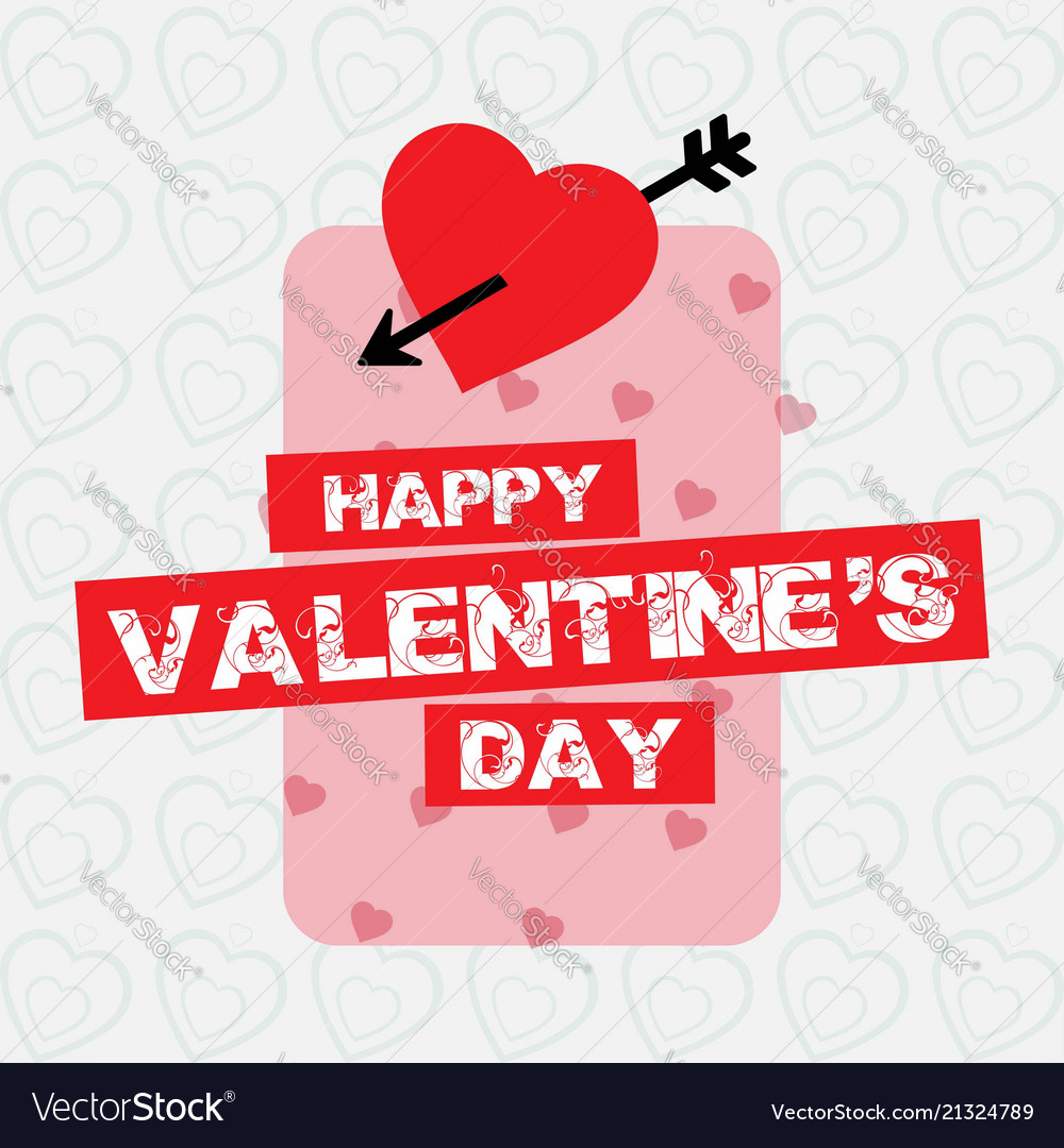Happy Valentines Day Card With Simple White Vector Image