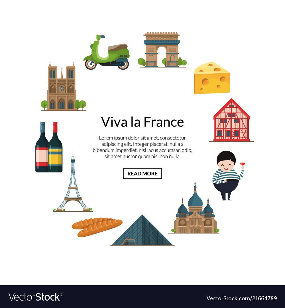 Paris elements cartoon france sights on