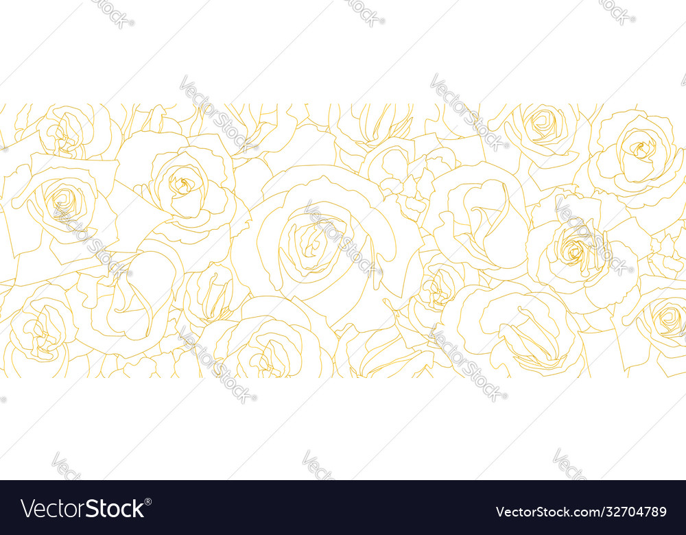 Pattern from roses buds in outline style vintage