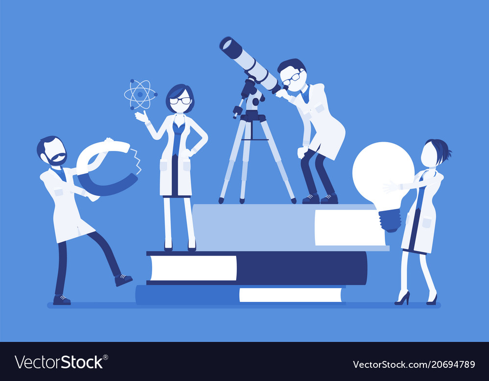 Scientists group researching with tools near vector image