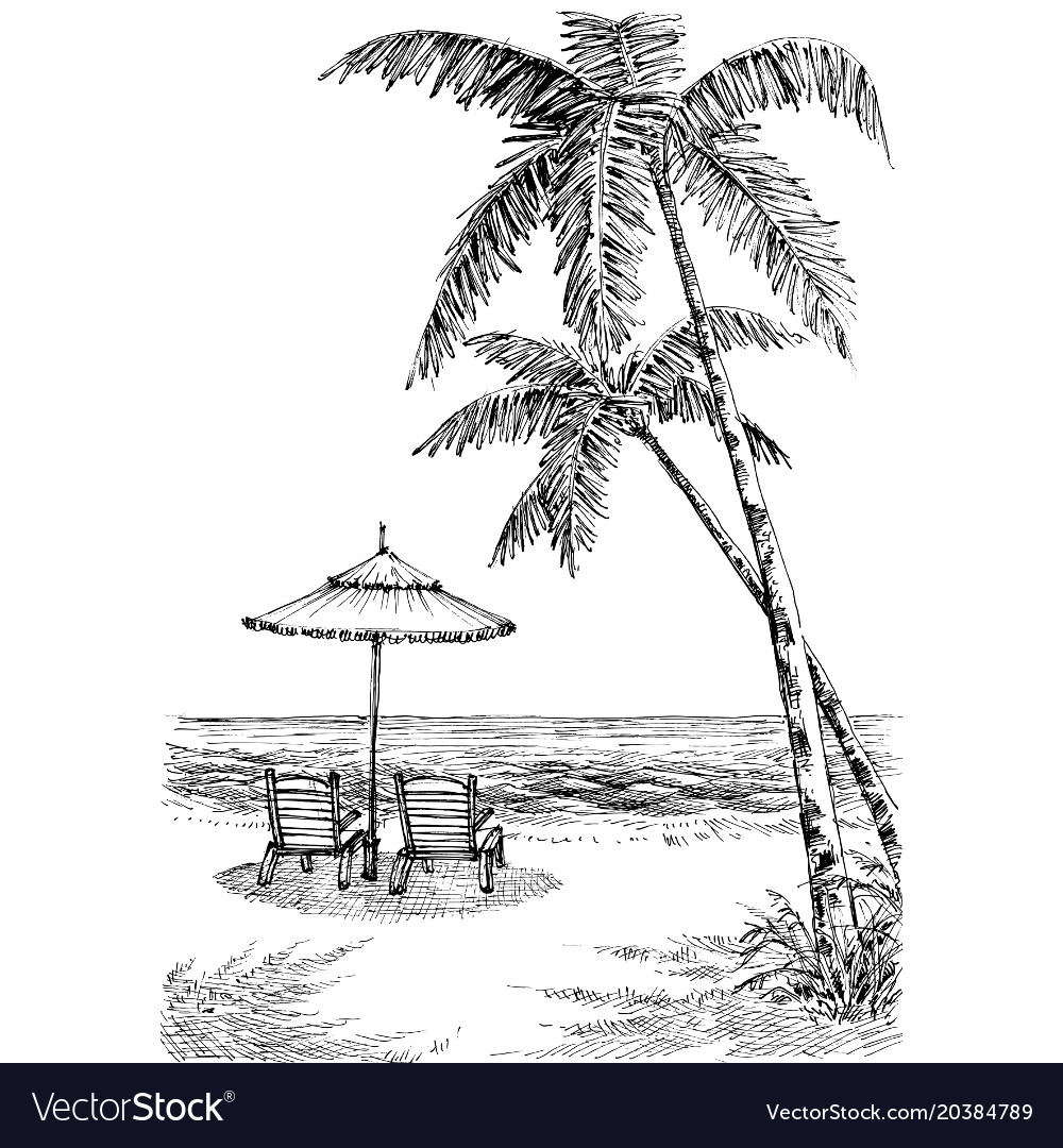 Sea view from the beach sun umbrella and chairs vector image