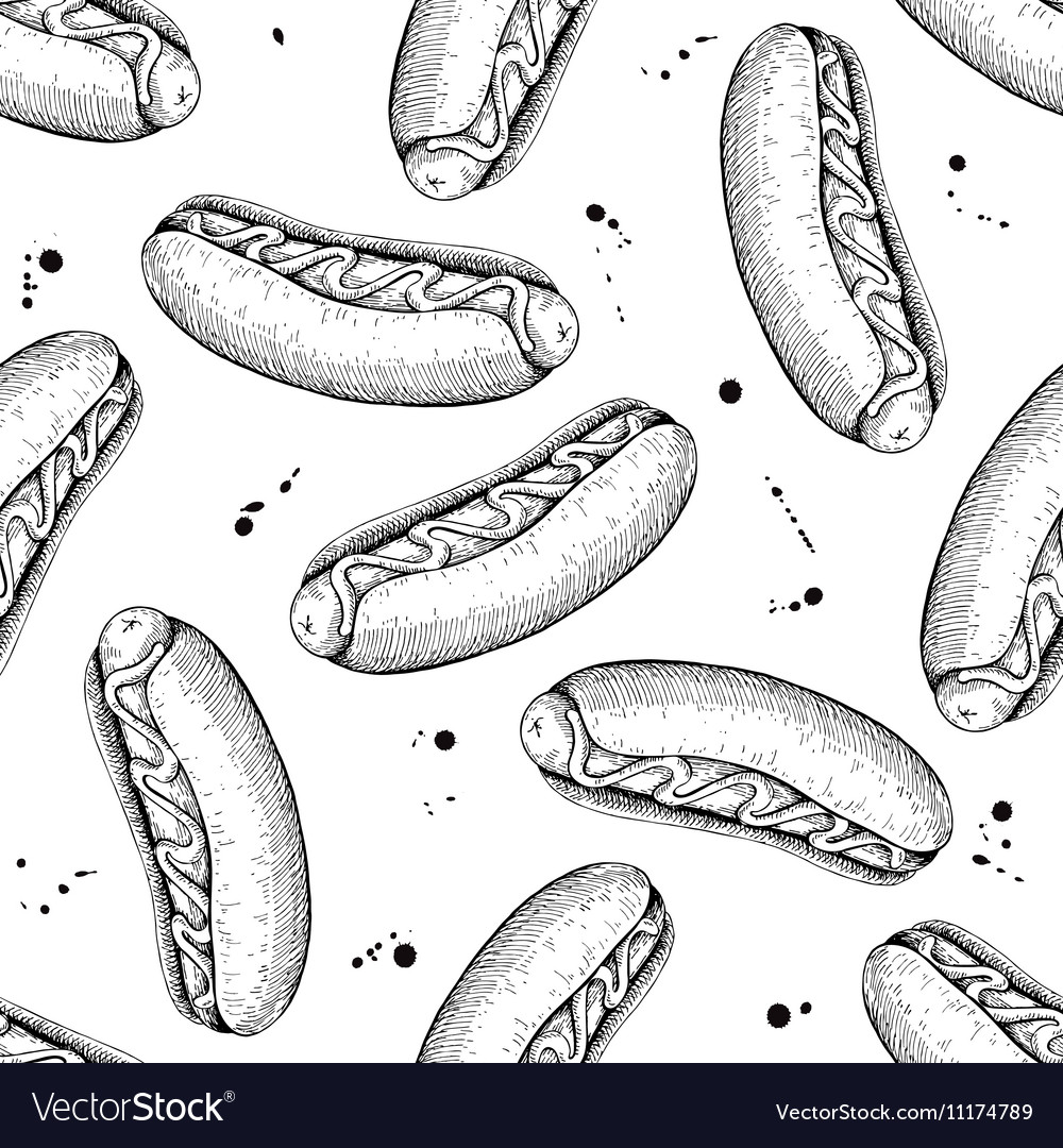 Seamless vintage hot dog pattern Hand