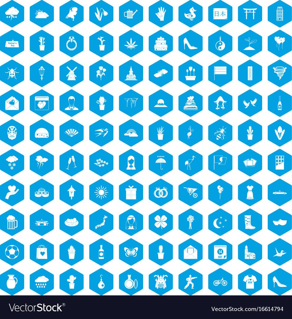 100 flowers icons set blue