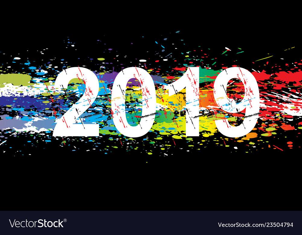 2019 year paint splashes gradient font