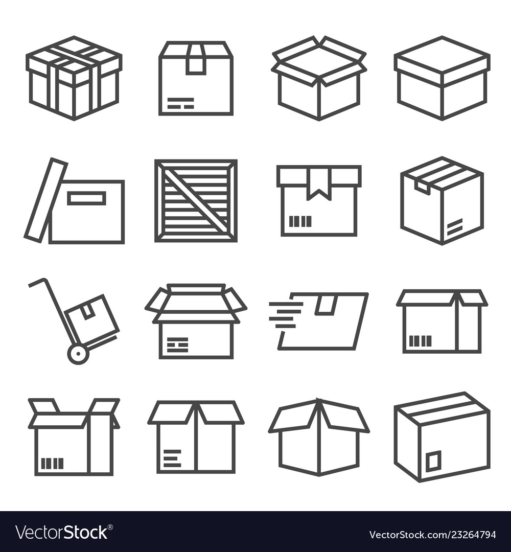 Box and parcel icons set for business
