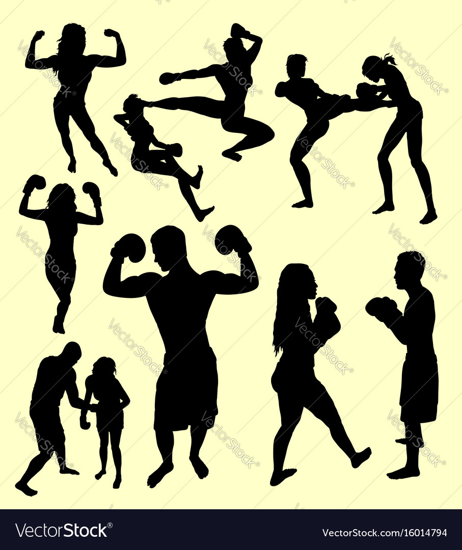 Boxing and fight silhouette