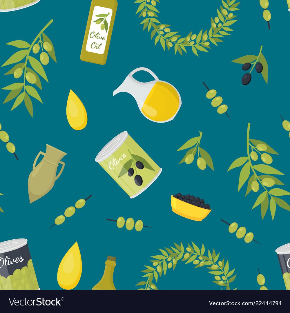Cartoon olive oil elements seamless pattern