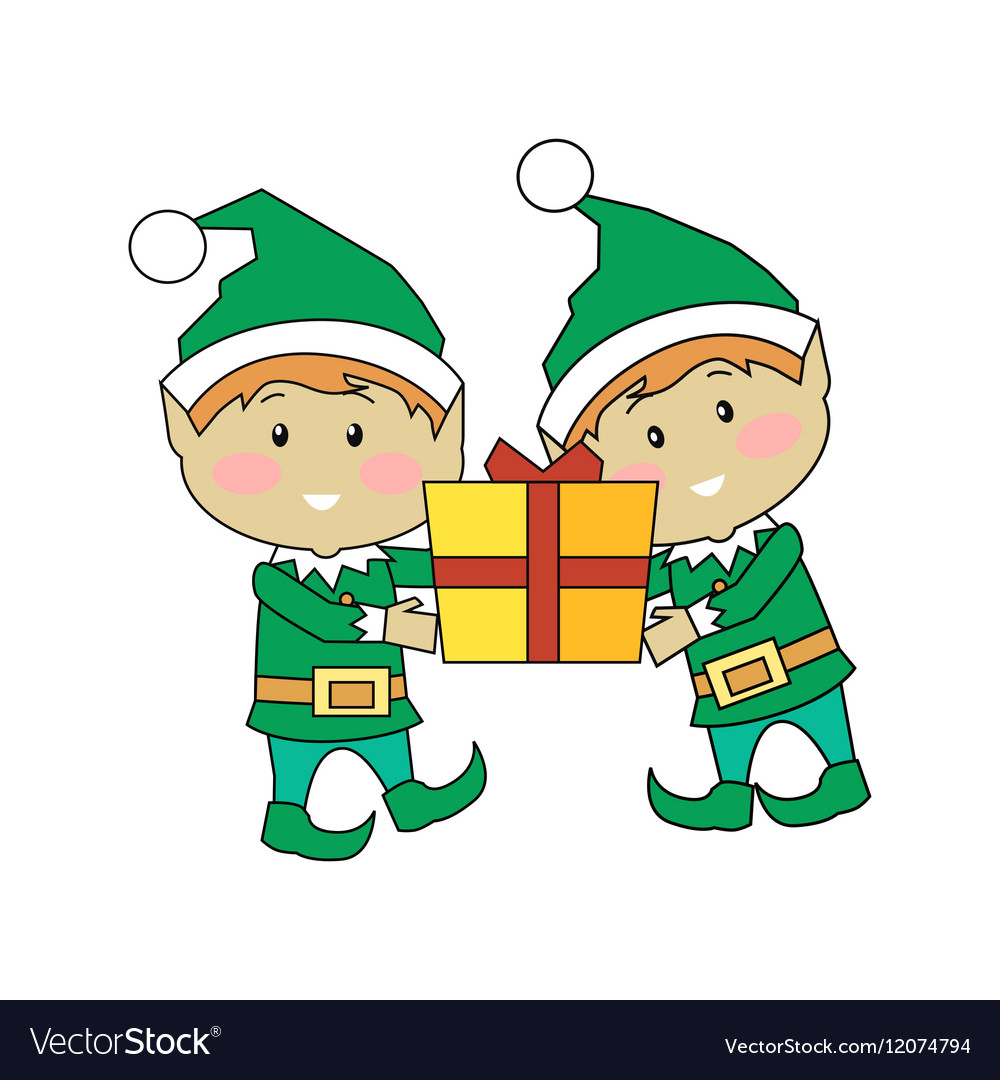 Christmas Elves.Christmas Elves Holding Gift Box Xmas Characters