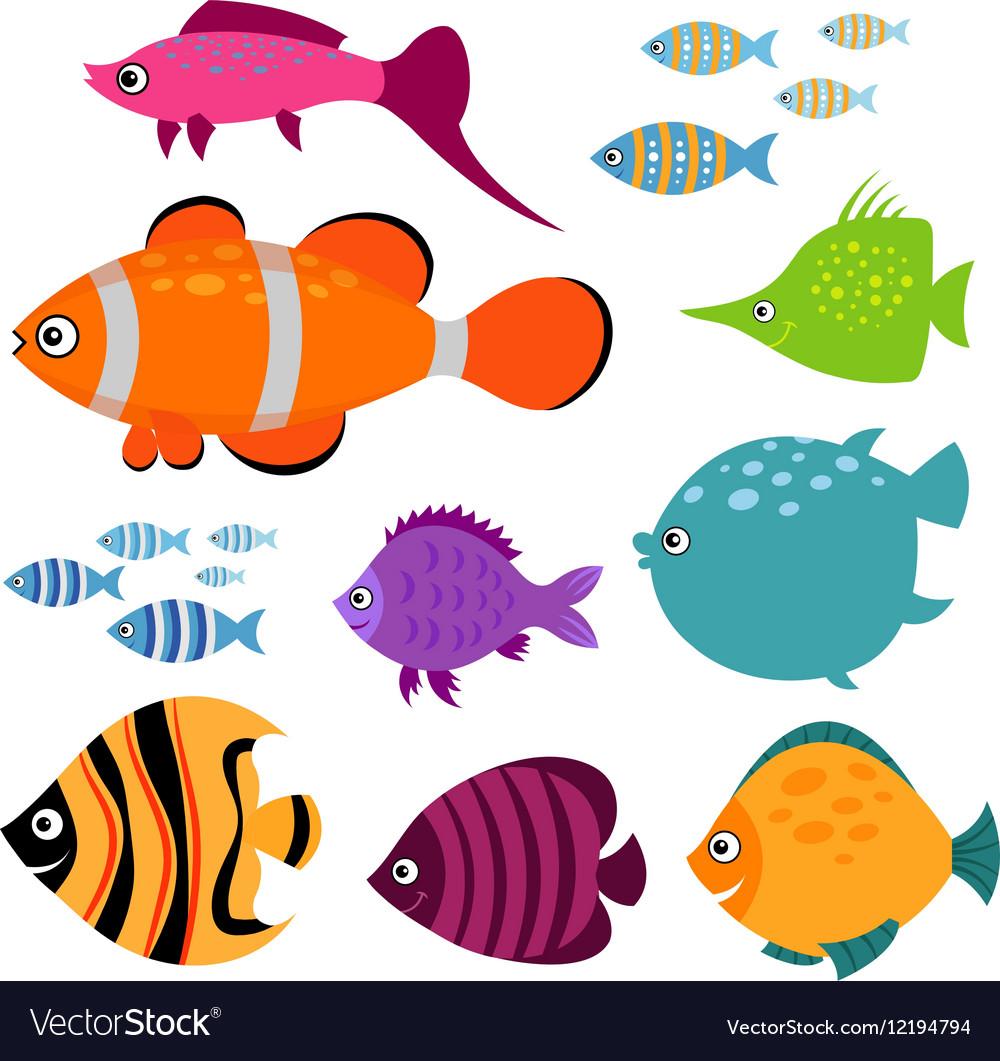 Cute fish set Smiling swimming aquarium
