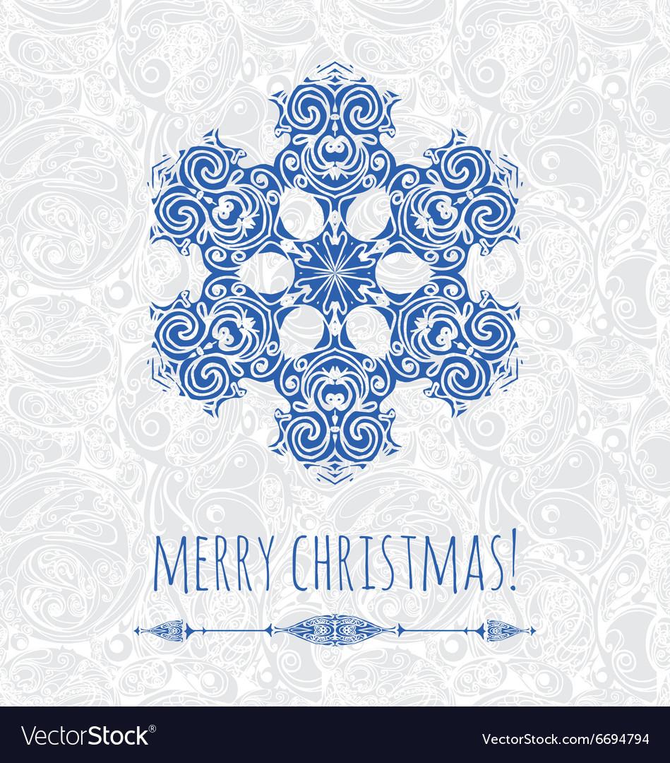 Decorative snowflake design template vector image