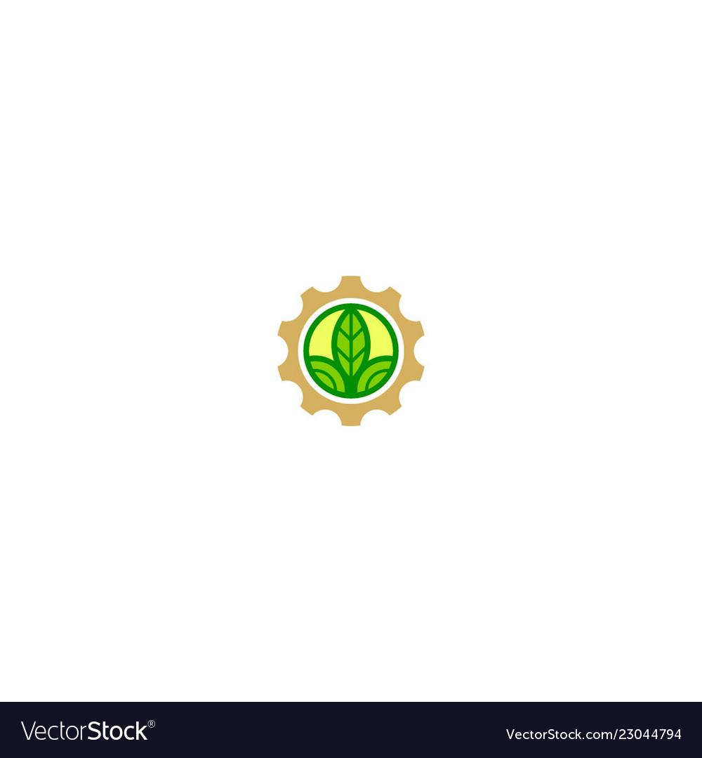 Gear work farm green leaf logo