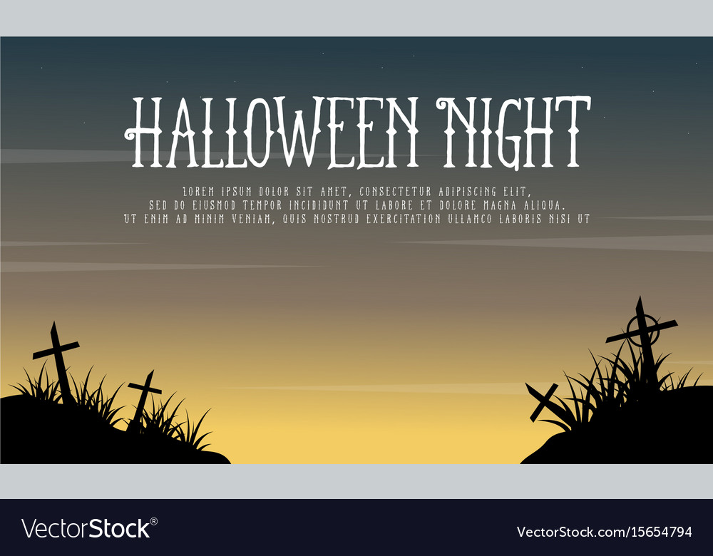 Greeting card halloween night background vector image