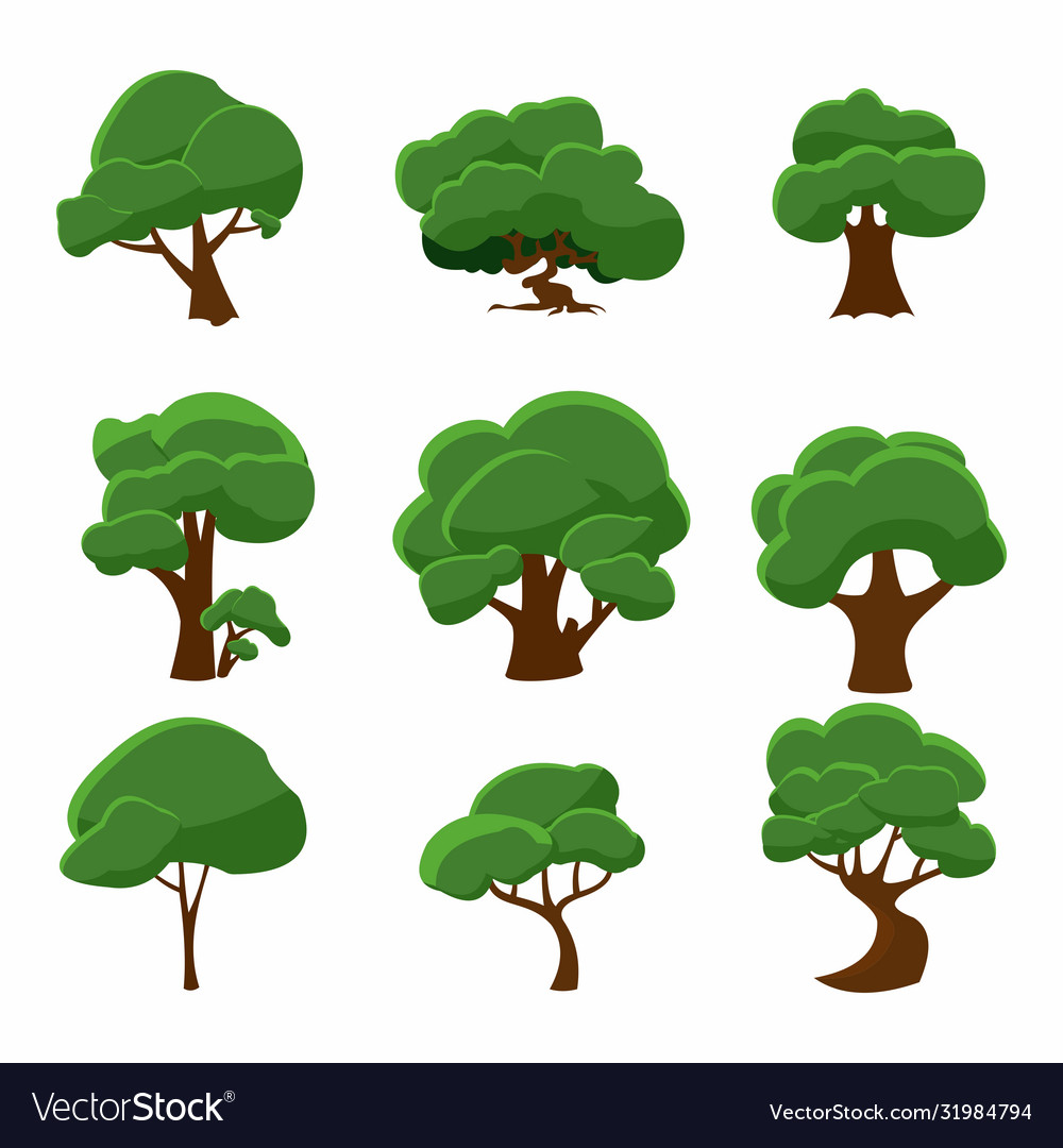 Hand drawn tree collection nature design