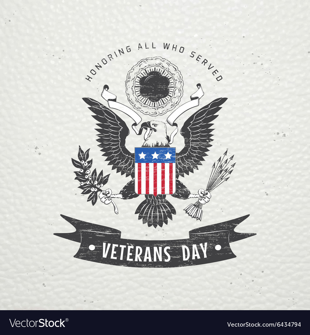 Happy veterans day detailed elements old retro