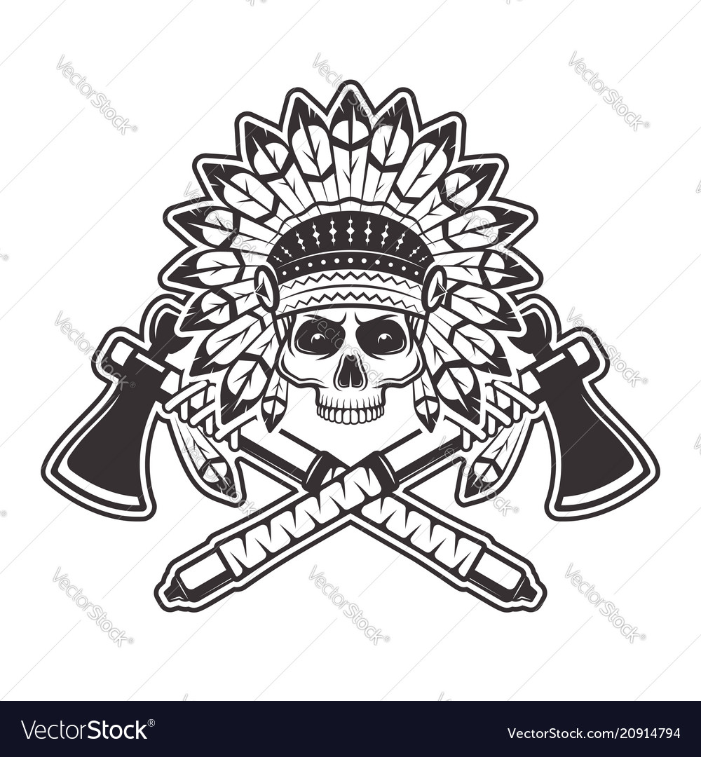 Indian chief skull with tomahawks