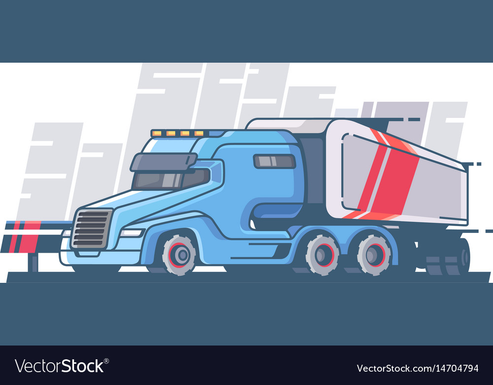 Large truck with long trailer vector image