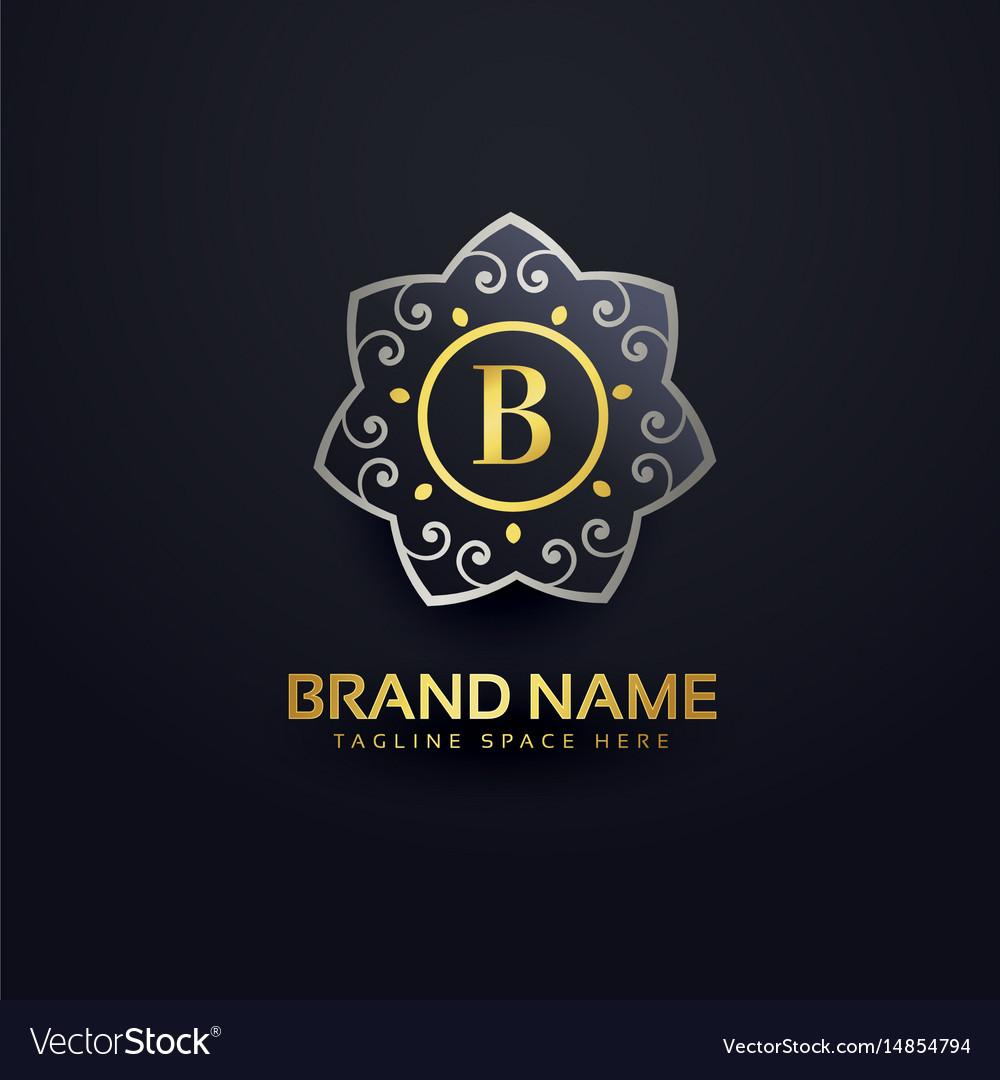 Letter b logo design with floral element