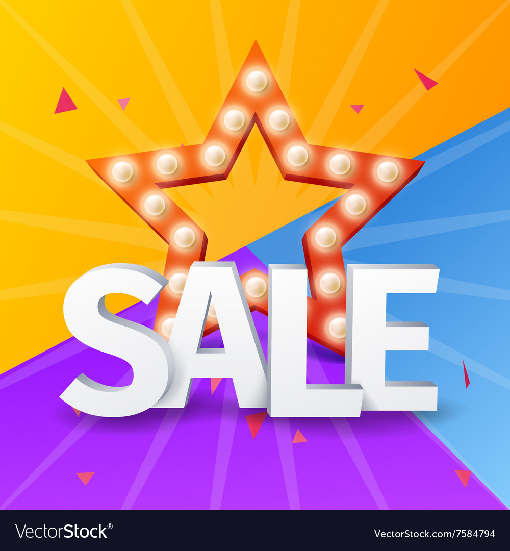 Sale poster on colorful background with star Star vector image