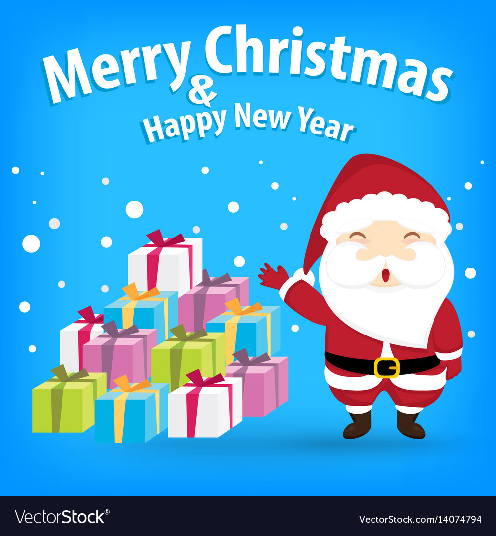 Santa claus and snow theme merry christmas and
