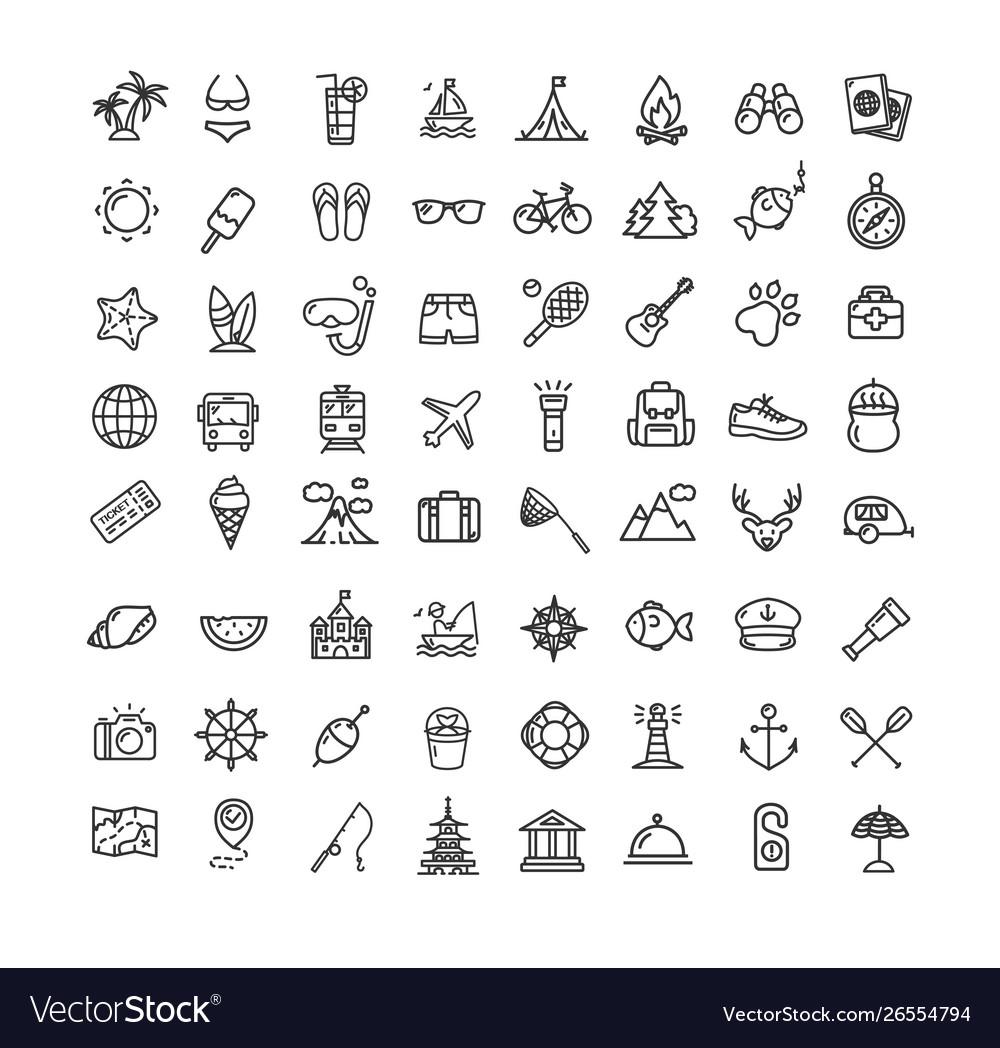 Summer holidays black thin line icon set