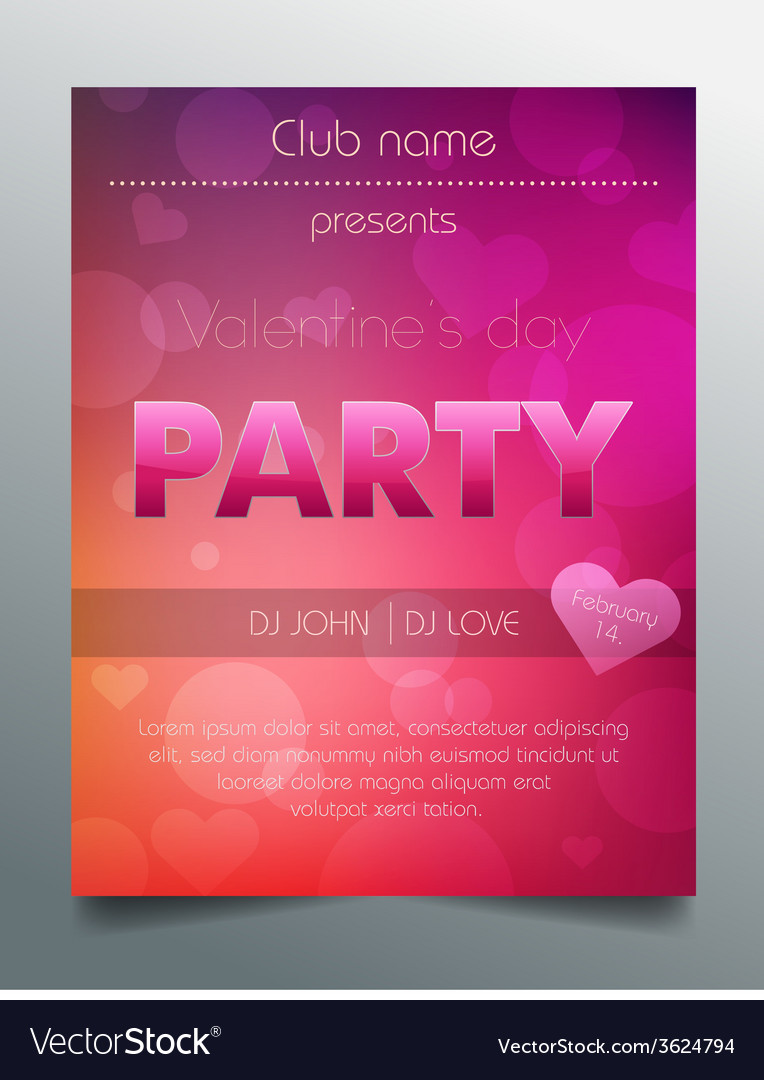 Valentines Day Party Flyer Template Purple Vector Image