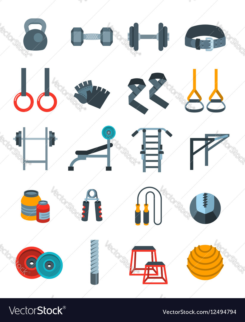 Weightlifting flat icons set