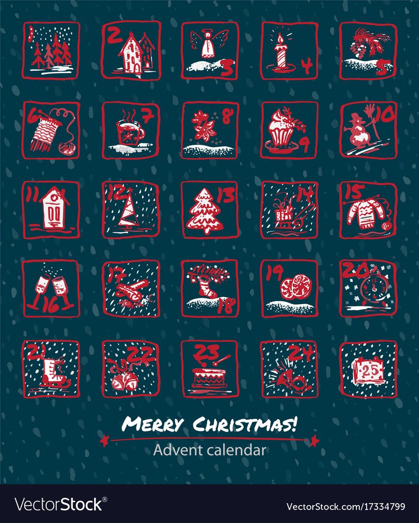 25 days of christmas set icons Vector Image