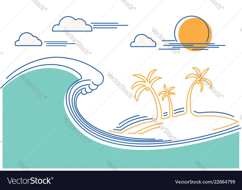 Big ocean wave and tropical island flat line