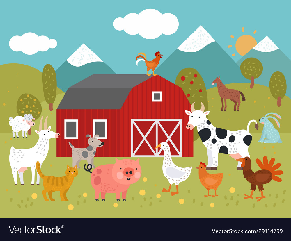 Cartoon farm goat cat and pig goose and chicken