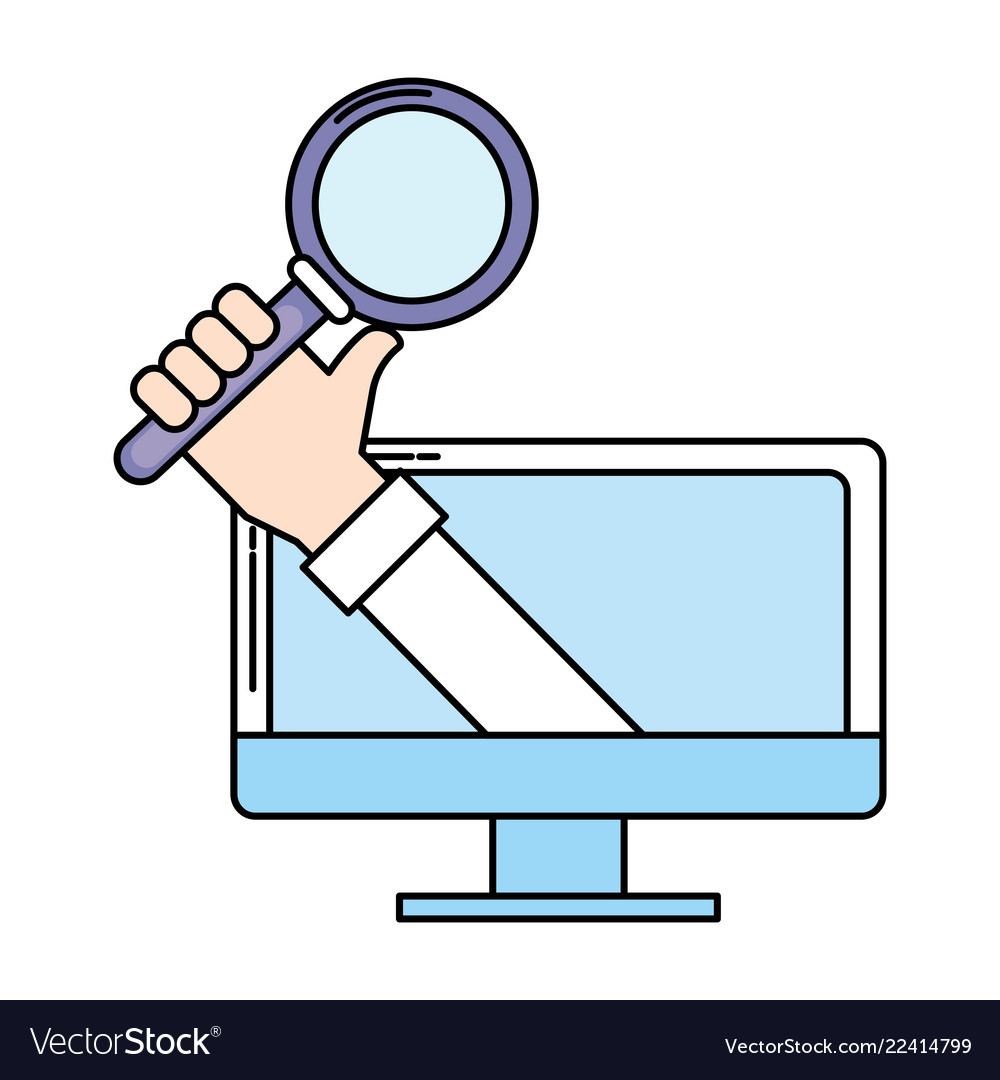 Computer and magnifying glass