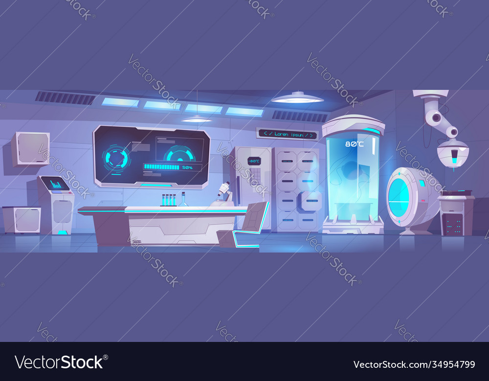 Cryonics laboratory empty interior with equipment vector