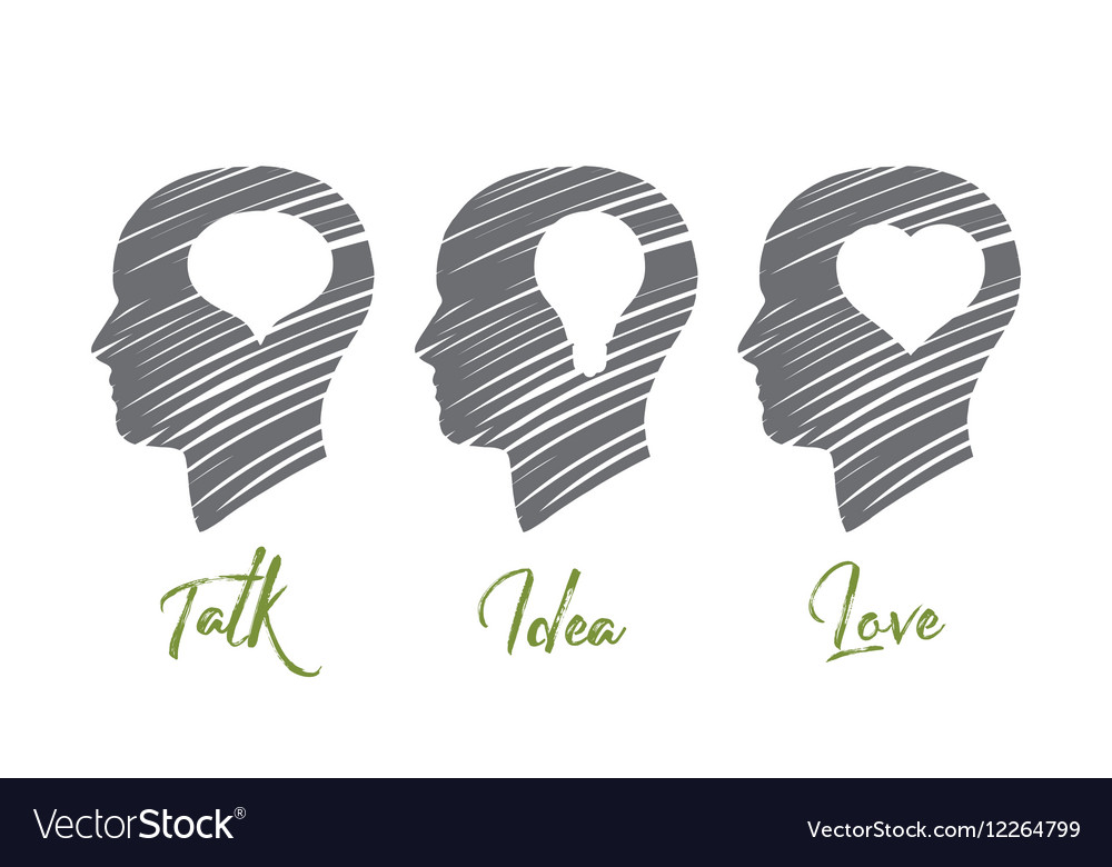 Hand drawn three heads with different symbols vector image