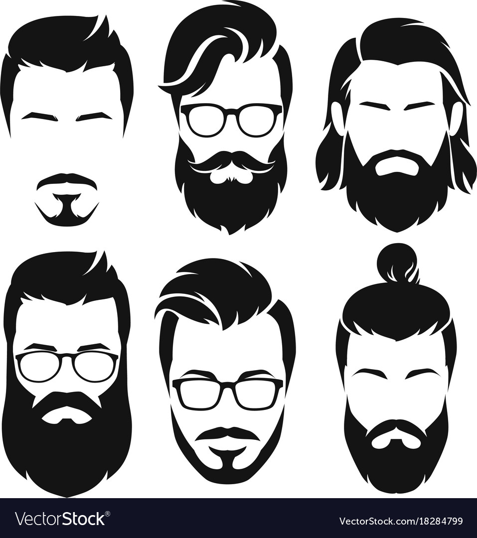 Sensational Hipsters Men Faces Collection Royalty Free Vector Image Natural Hairstyles Runnerswayorg