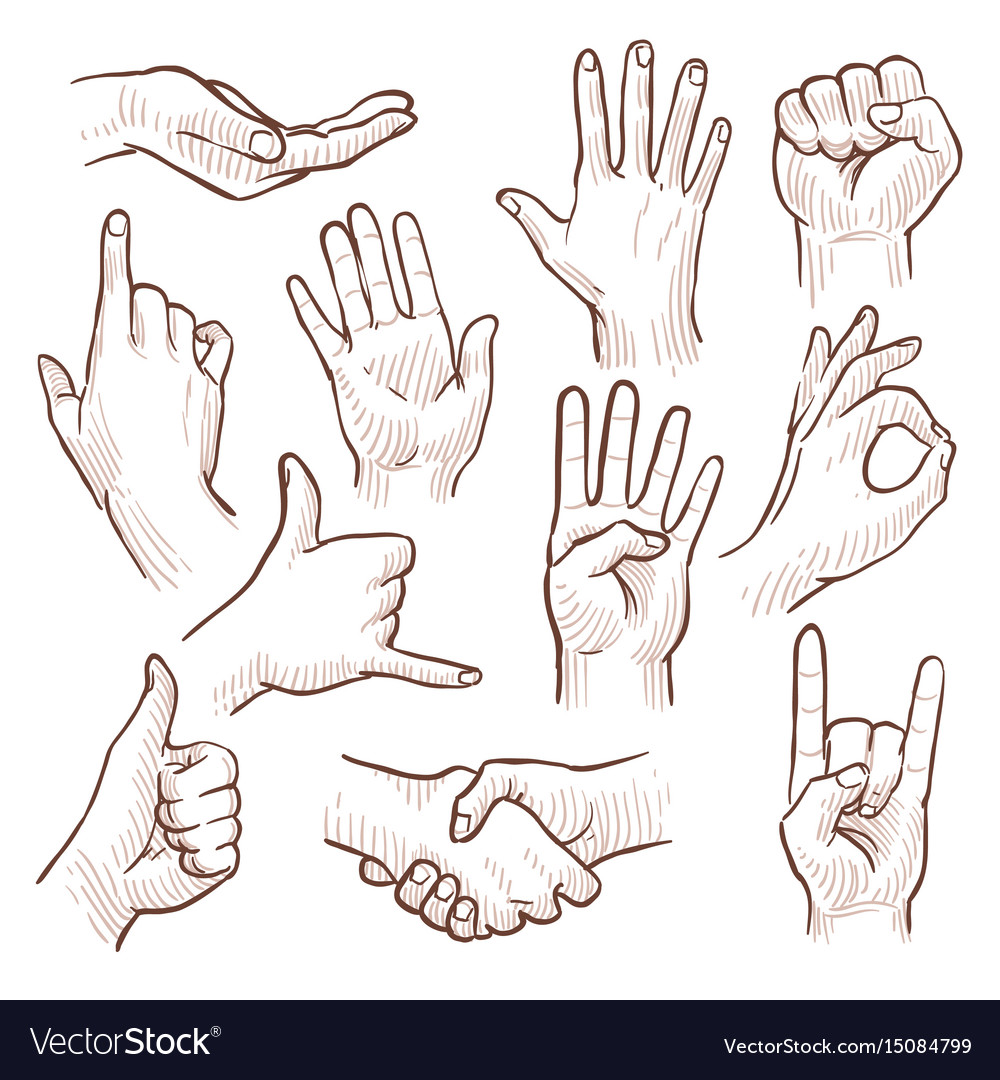 Line drawing doodle hands showing common signs