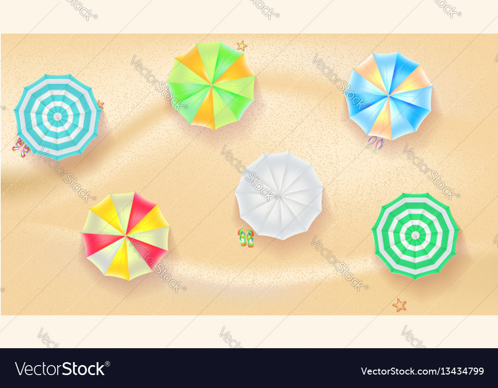 Set colorful beach umbrellas on background
